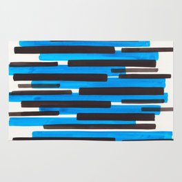Cerulean Blue Primitive Stripes Mid Century Modern Minimalist Watercolor Gouache Painting Colorful S Rug
