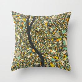BUDAPEST MAP Throw Pillow