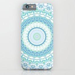 Blue, Green and White Mandala 02 iPhone Case
