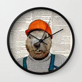 Beaver the construction workers Print , Beaver Art Print, Beaver wall art, vintage dictionary Wall Clock