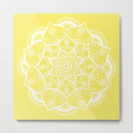 Mellow Yellow Flower Mandala Metal Print