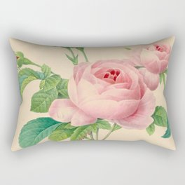 Selection of the most beautiful flowers Pink Rose - Pierre-Joseph Redouté - 1827 Rectangular Pillow