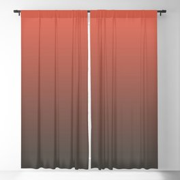 Pantone Living Coral & Beluga Gray Gradient Ombre Blend, Soft Horizontal Line Blackout Curtain