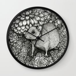 Rat, Succulents Wall Clock