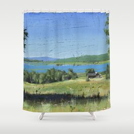 cabin - by phil art guy Shower Curtain