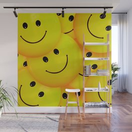 Fun Cool Happy Yellow Smiley Faces Wall Mural