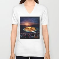 breakfast V-neck T-shirts featuring Breakfast by Lerson