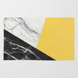 Black and White Marble with Pantone Primrose Yellow Rug