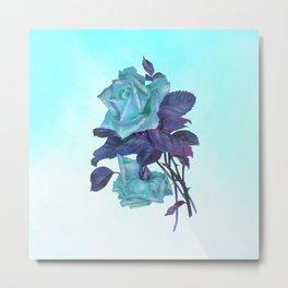 Vintage Turquoise Rose Metal Print