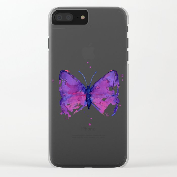 Butterfly Purple Watercolor Animal Clear iPhone Case