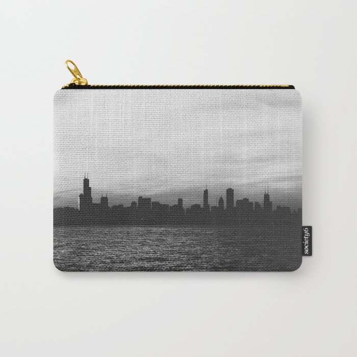 Black and White Chicago Seascape Carry-All Pouch