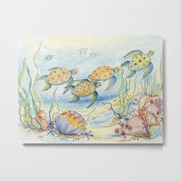 Sea Turtles, Coral and Kelp Metal Print