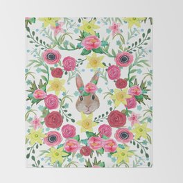 Easter rabbit floral beauty Throw Blanket