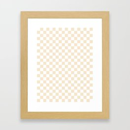 Small Checkered - White and Champagne Orange Framed Art Print