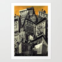 cityscape Art Prints featuring Cityscape by Chris Lord