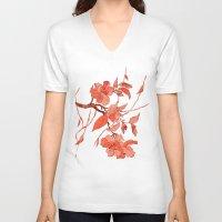 asian V-neck T-shirts featuring Asian Motifs by Tatevik Sayadyan
