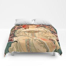 Mucha Daydream Art Nouveau Edwardian Woman Floral Portrait Comforters