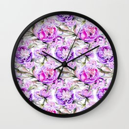 Modern lilac violet watercolor hand painted floral motif Wall Clock