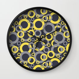 Yellow Grey Navy Blue Circle Pattern Pantone 2021 Color of the Years and Accent Shades Wall Clock