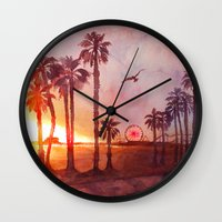 santa monica Wall Clocks featuring Sunset in Santa Monica by Kate Tova