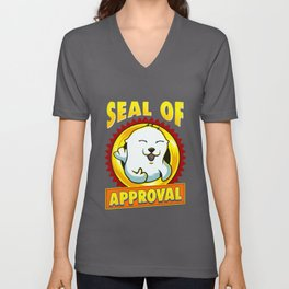 Cute & Funny Seal Of Approval Baby Seal Cub Pun Unisex V-Neck