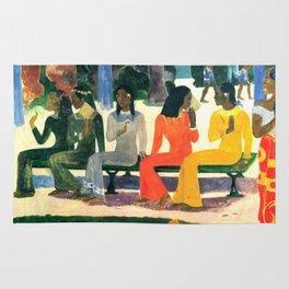 """Paul Gauguin """"Ta Matete (Nous n'irons pas au marché aujourd'hui)(The market)"""" Rug"""