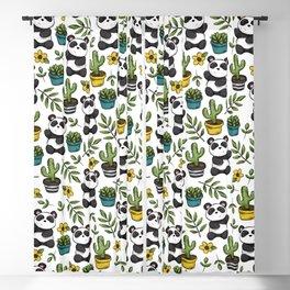Panda Print, Succulents, Greenery and Cute Pandas, Flowers and Cactus Blackout Curtain