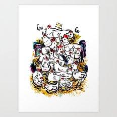 Chicken & peeps Art Print