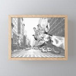 Black and White Selfie Giraffe in NYC Framed Mini Art Print
