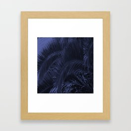 Dark Blue Palms Framed Art Print