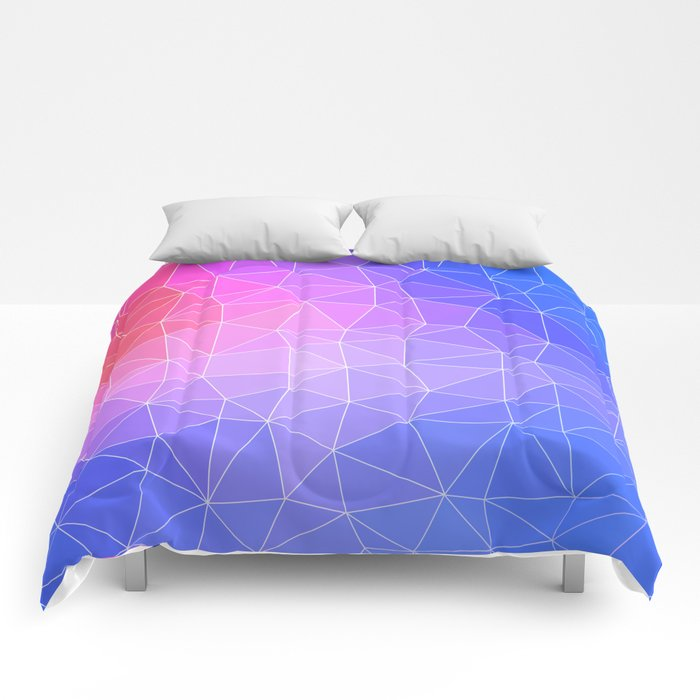 Abstract Colorful Flashy Geometric Triangulate Design Comforters