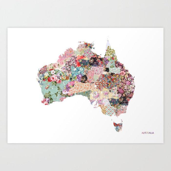 Map Of Australian Landscapes.Australia Map Landscape Art Print