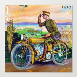 1918 WWI Vintage Motorcycle Dealer's Sign - Advertising Poster Canvas Print