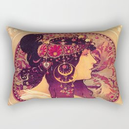 Alphonse Mucha, Art Nouveau Rectangular Pillow