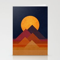 minimalist Stationery Cards featuring Full moon and pyramid by Picomodi