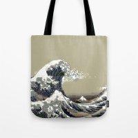 hokusai Tote Bags featuring Hokusai by noirlac