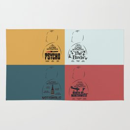 Four Hitchcock movie poster in one (Psycho, The Birds, North by Northwest, Notorious), cinema, cool Rug