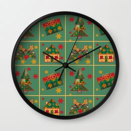 Christmas gifts . The occasion . The green background . Wall Clock