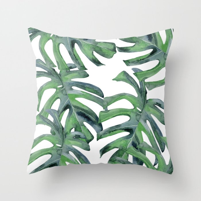 Tropical Palm Leaves Green on White Throw Pillow by