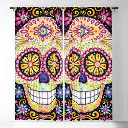 Colorful Sugar Skull - Psychedelic Day of the Dead Skull Art by Thaneeya McArdle Blackout Curtain