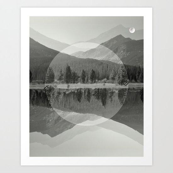 Mountain Mirror BW Art Print