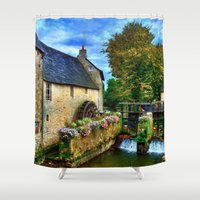 postcard Shower Curtains featuring French Postcard by Exquisite Photography by Lanis Rossi