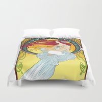 meditation Duvet Covers featuring Meditation  by Leassel