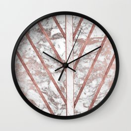 Modern faux rose gold white geometrical marble stripes Wall Clock
