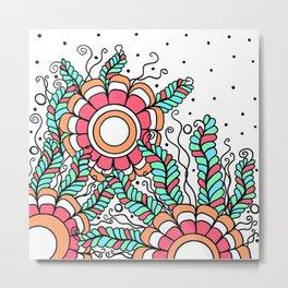 Doodle Art Three Flowers Vines – Pink Green Orange Metal Print