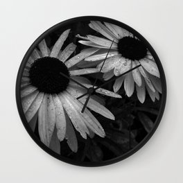 Black and White Daisys Wall Clock