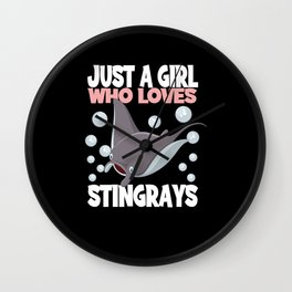 Just A Girl Who Loves Stingrays I Skate Girls Wall Clock