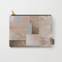 Copper and Blush Rose Gold Marble Quadrangle Geometrical Shapes Carry-All Pouch