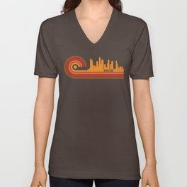 Retro Style Houston Texas Skyline Unisex V-Neck