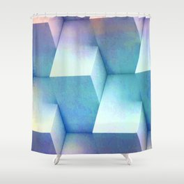 Pastel Blue Stacked Boxes Shower Curtain